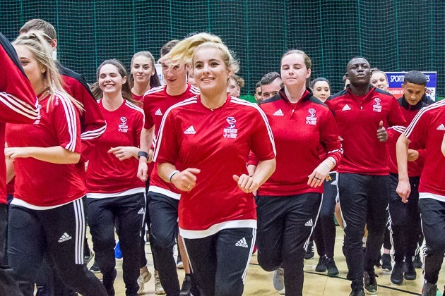 PE Apprentices running in sports hall